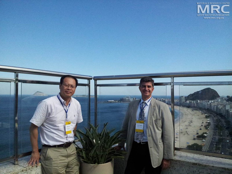 Prof. Yury Gogotsi, Drexel University, USA, and  collaborator from Dalian University of Technology, China, Prof. Jason Qiu, World Conference on Carbon at Copacabana, Rio de Janeiro, Brazil, July, 2013